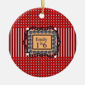 Emily is 16_sweet_diamond_monogram_red_design round ceramic ornament