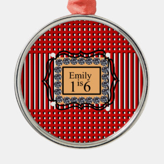 Emily is 16_sweet_diamond_monogram_red_design Silver-Colored round ornament