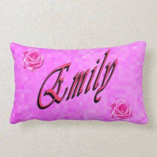 Emily, Name, Logo, On Pink Mosaic Lumbar Pillow