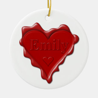 Emily. Red heart wax seal with name Emily Round Ceramic Ornament