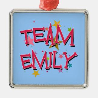 EMILY Team Emily Silver-Colored Square Ornament
