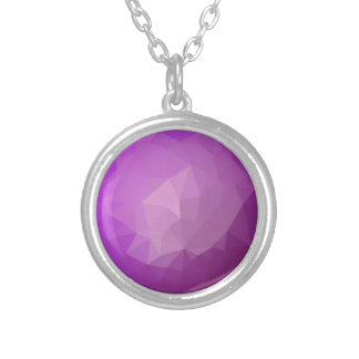 Eminence Violet Abstract Low Polygon Background Silver Plated Necklace