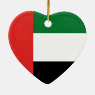 Emiradosarabes flag ceramic heart ornament