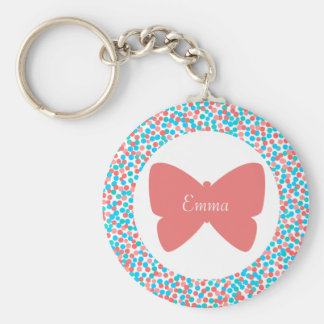 Emma Butterfly Dots Keychain - 369MyName