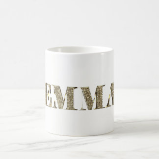 Emma Elegant Golden Glitter Look Typography Name Coffee Mug