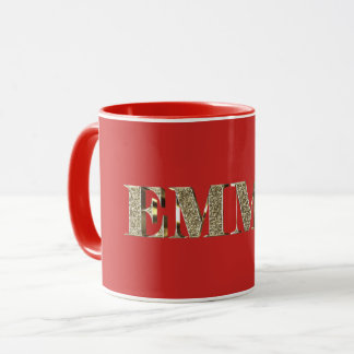 Emma Elegant Golden Glitter Look Typography Name Mug