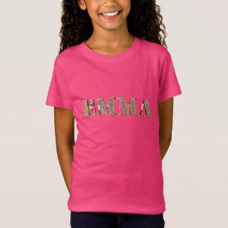 Emma Elegant Golden Glitter Look Typography Name T-Shirt