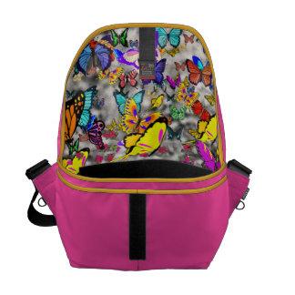 Emma in Butterflies I - Gray Tabby Kitten Messenger Bags