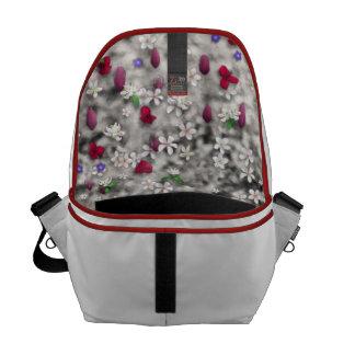 Emma in Flowers I – Little Gray Kitty Cat Messenger Bags