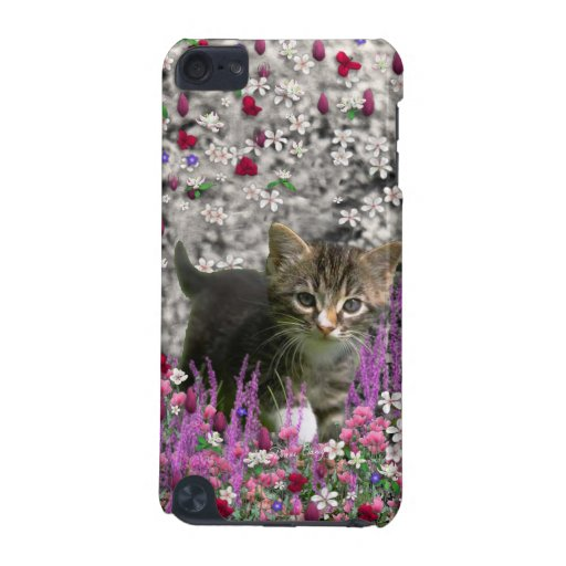 Emma in Flowers I – Little Gray Tabby Kitten iPod Touch (5th Generation) Covers