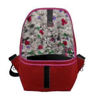 Emma in Flowers II, Little Gray Tabby Kitty Cat Commuter Bag