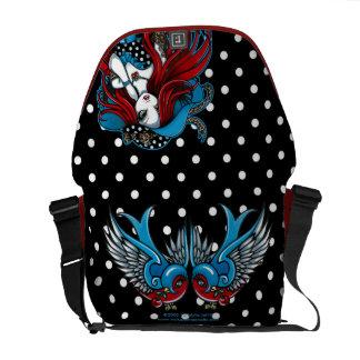 Emma Rockabilly Swallow Tattoo Angel Messenger Bag