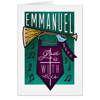 Emmanuel God is With Us Music Christmas Card