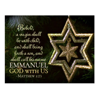 Emmanuel God with Us Matthew 1:23 Christmas Bible Postcard