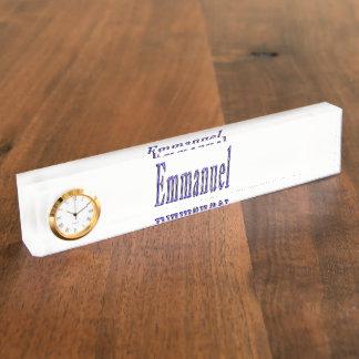 Emmanuel, Name, Logo, Desk Nameplate with Clock.