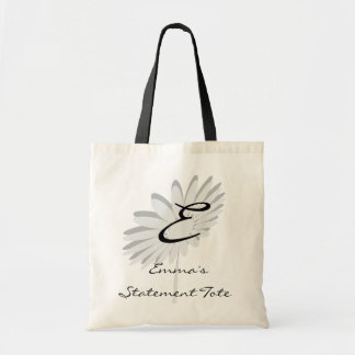 Emma's Cute Chic Type Grey Flower  Statement Tote