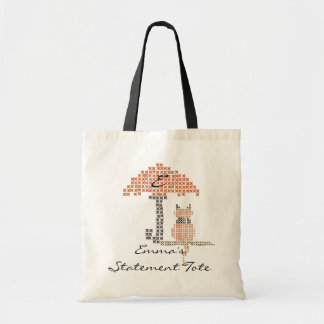 Emma's Cute Funny Stitched Cat Statement Tote