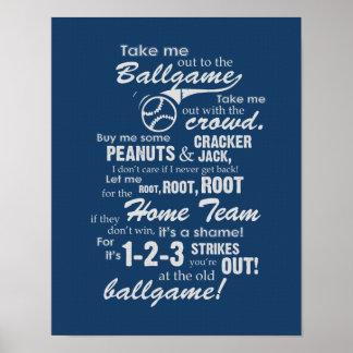 Emmenez-moi à la partie de base-ball - bleu poster
