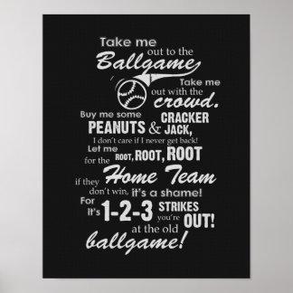 Emmenez-moi à la partie de base-ball - noir poster