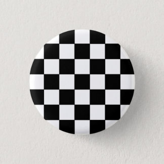 Emo Black & White Checkerboard 1 Inch Round Button