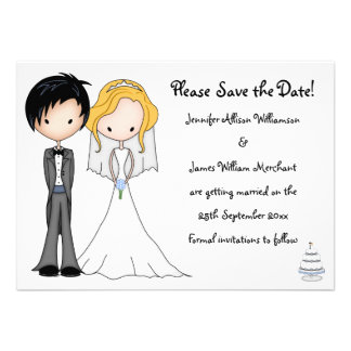 Emo Bride and Groom Cartoon Save the Date Announcements
