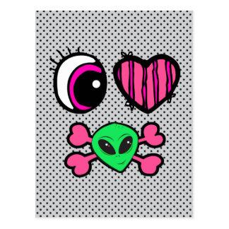 emo eye heart i heart aliens postcard