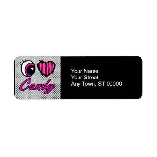 Emo Eye Heart I Love Candy Return Address Label