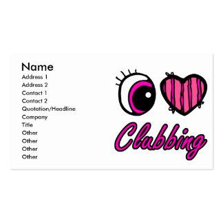 Emo Eye Heart I Love Clubbing Business Card
