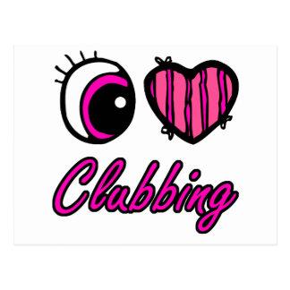 Emo Eye Heart I Love Clubbing Postcard