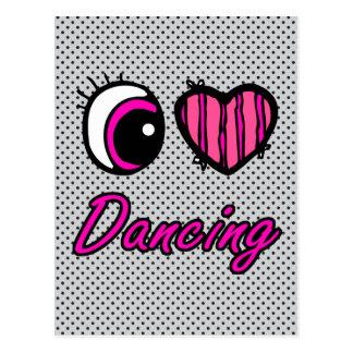 Emo Eye Heart I Love Dancing Postcard