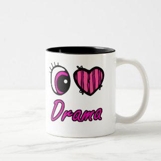 Emo Eye Heart I Love Drama Two-Tone Coffee Mug