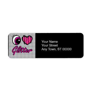 Emo Eye Heart I Love Glitter Return Address Label