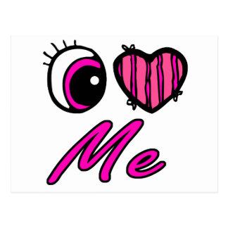 Emo Eye Heart I Love Me Postcard