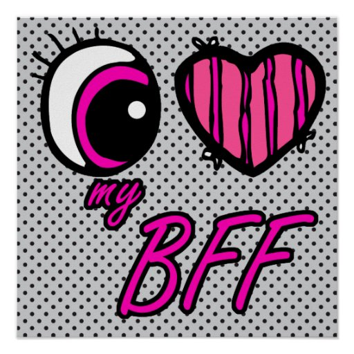 Emo Eye Heart I Love my BFF Best Friend Forever Posters