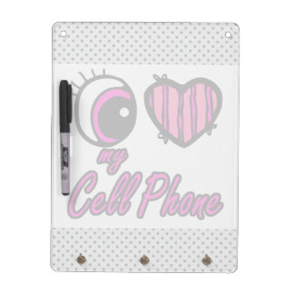 Emo Eye Heart I Love my Cell Phone Dry Erase Board