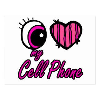 Emo Eye Heart I Love my Cell Phone Postcard