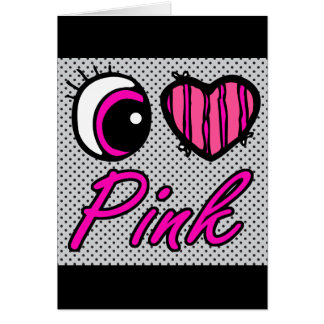 Emo Eye Heart I Love Pink Greeting Card