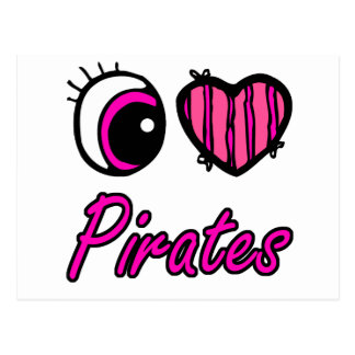 Emo Eye Heart I Love Pirates Postcard