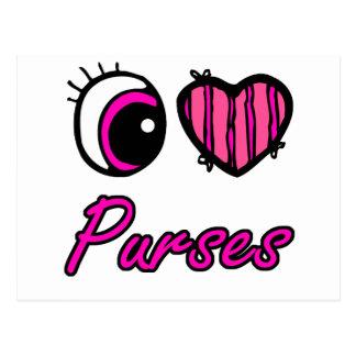 Emo Eye Heart I Love Purses Postcard