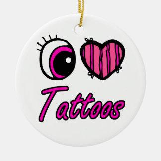 Emo Eye Heart I Love Tattoos Ceramic Ornament
