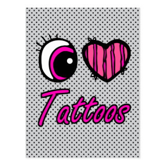 Emo Eye Heart I Love Tattoos Postcard