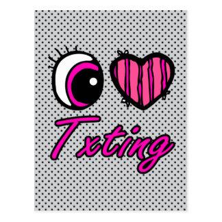 Emo Eye Heart I Love Txting Postcard