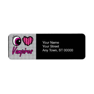Emo Eye Heart I Love Vampires Return Address Label