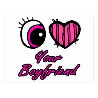 Emo Eye Heart I Love Your Boyfriend Postcard