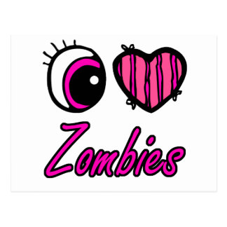 Emo Eye Heart I Love Zombies Postcard