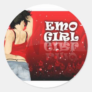 Emo Girl Classic Round Sticker