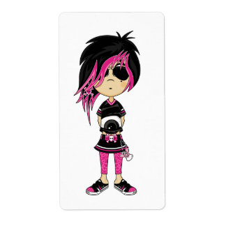 Emo Punk Girl Sticker Label Shipping Label