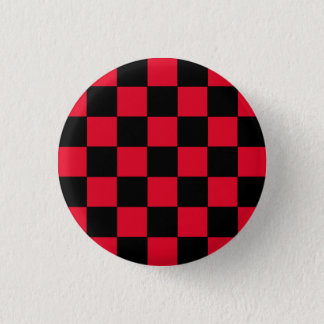 Emo Red & Black Checkerboard 1 Inch Round Button