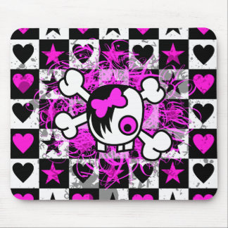 Emo Scene Cartoon Girl Skull Mouse Pad