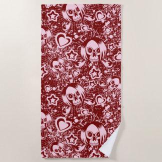 emo skull background beach towel